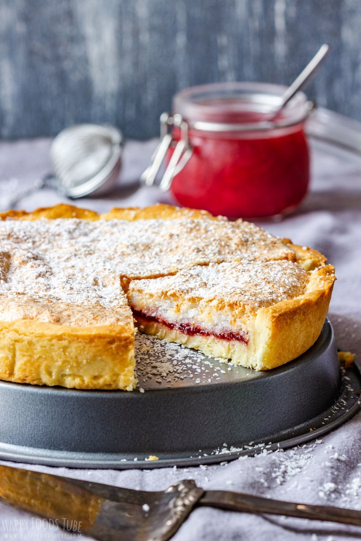 Coconut Tart with strawberry filling made from scratch