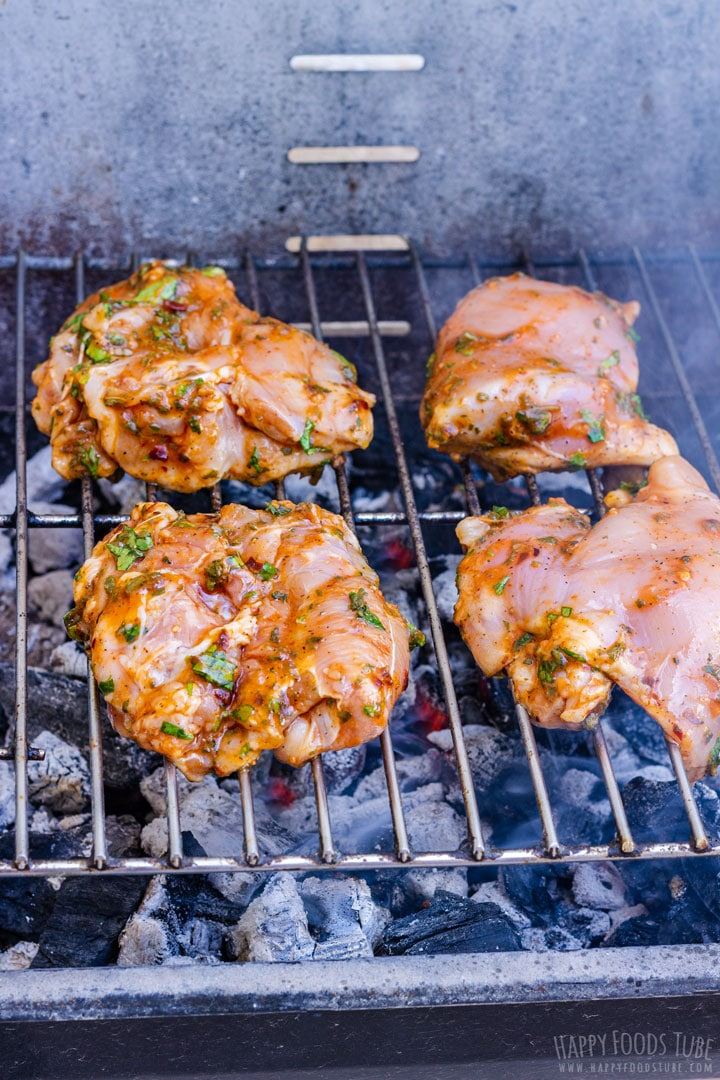 Spicy Chicken Thighs Grilled Outdoors