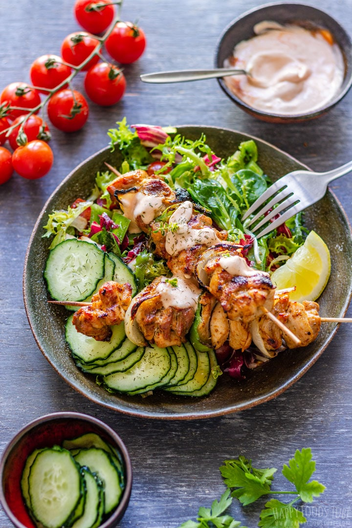 Grilled Chicken Kabobs with Salad