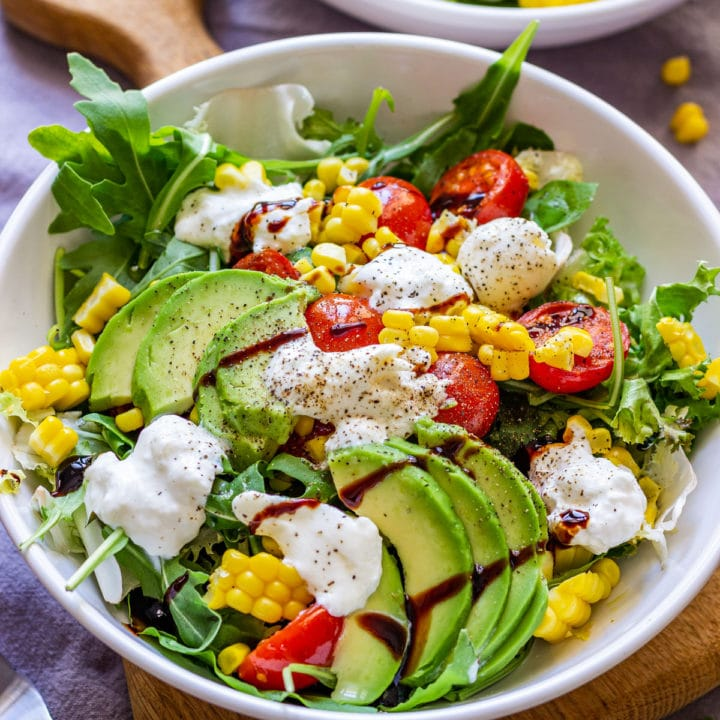 Healthy homemade burrata salad