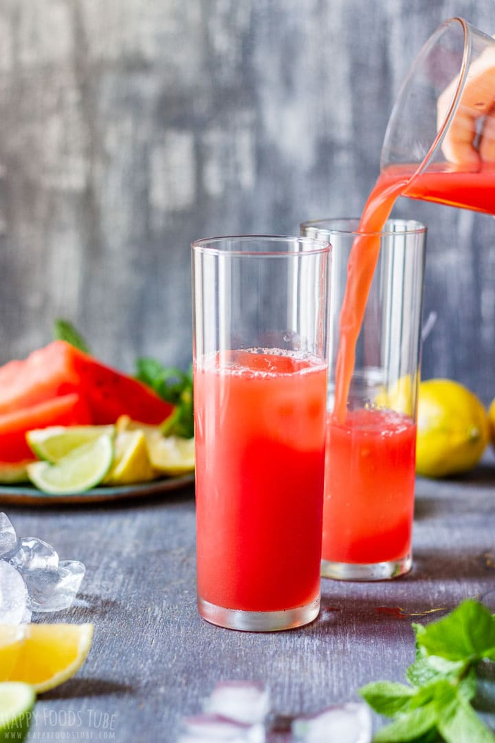 Serving Watermelon Agua Fresca in tall glasses