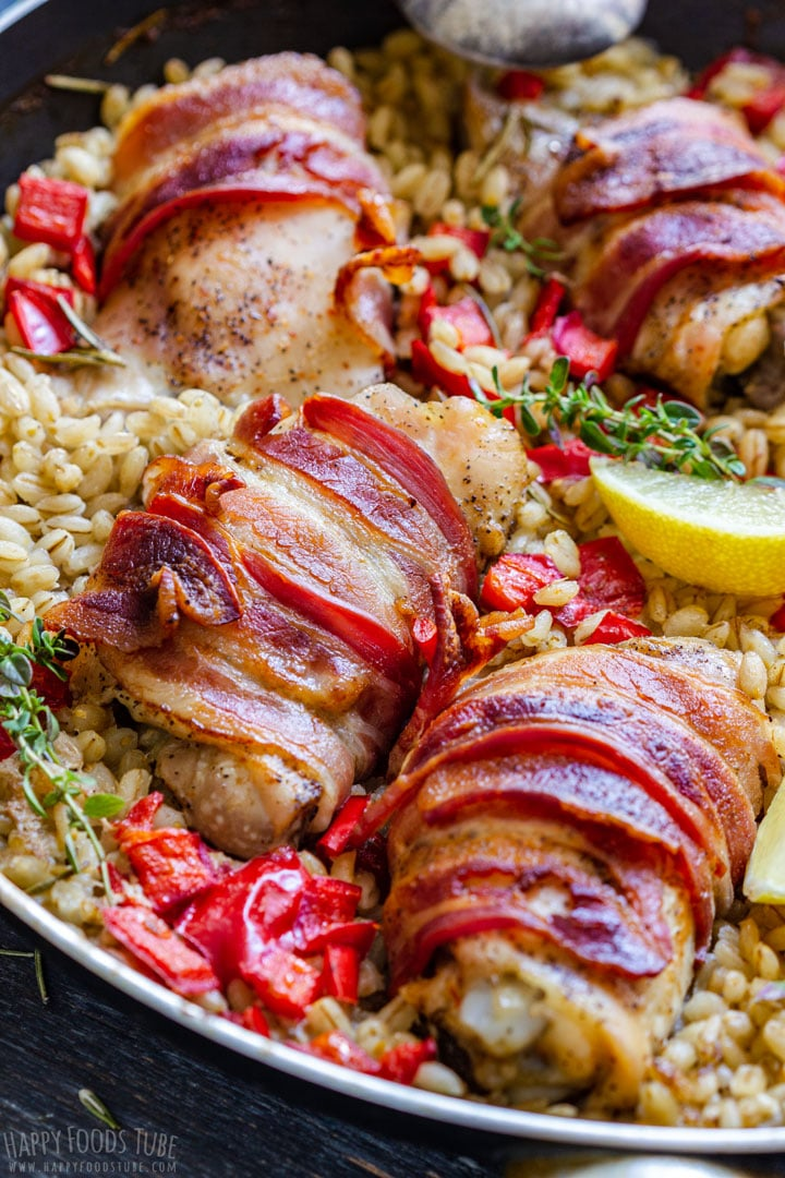 Bacon wrapped chicken thighs with barley