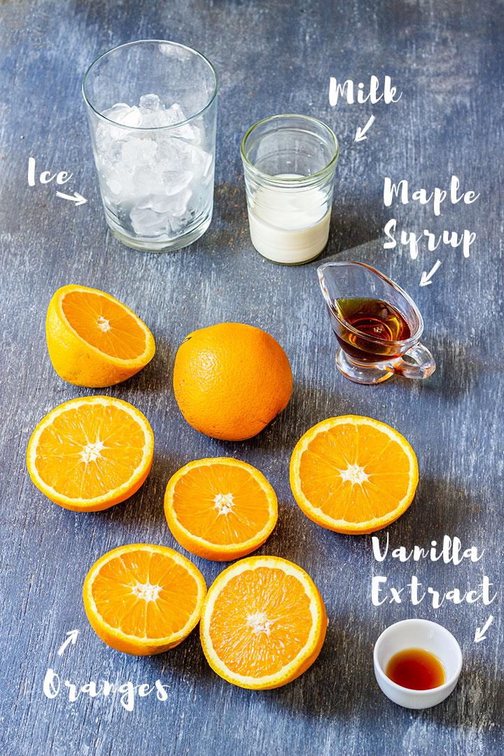Ingredients of orange Julius