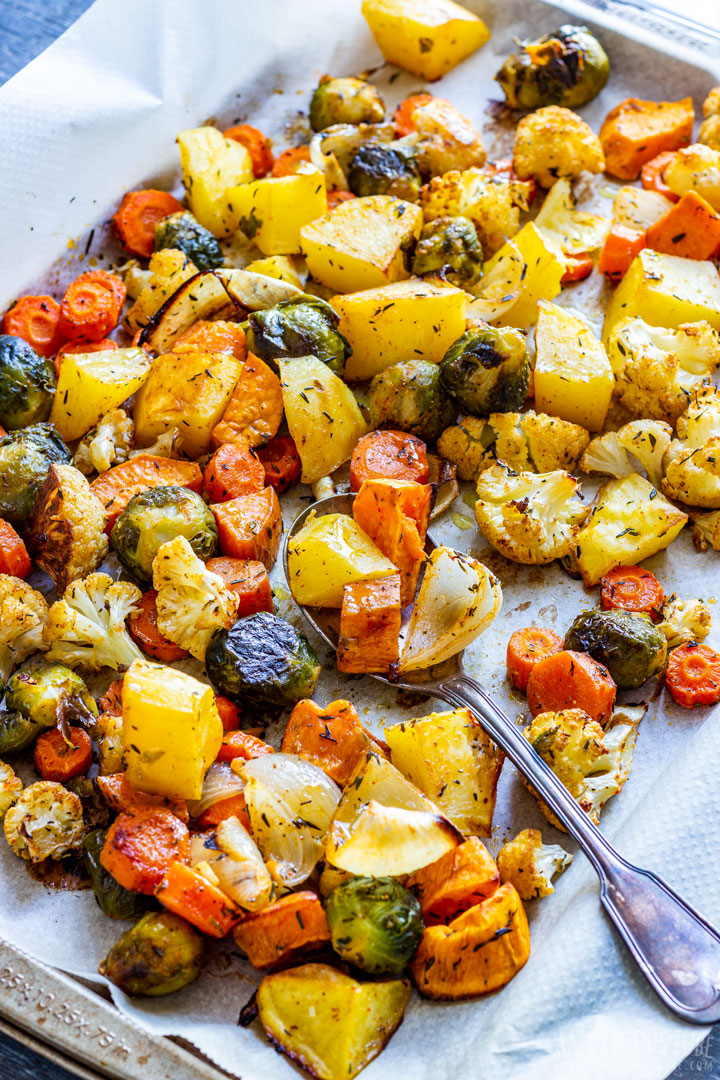 Oven roasted fall vegetables - potatoes, carrots, sweet potato and brussels sprouts