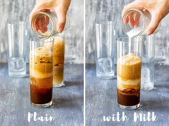 Plain Greek frappe versus milk frappe
