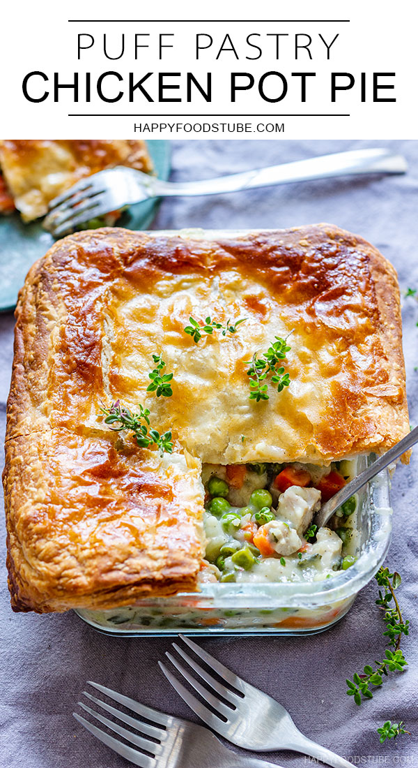 Puff pastry chicken pot pie pin