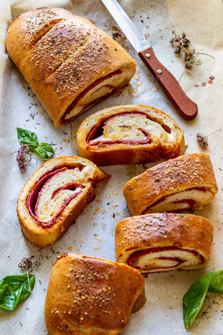 Delicious sliced Stromboli pizza