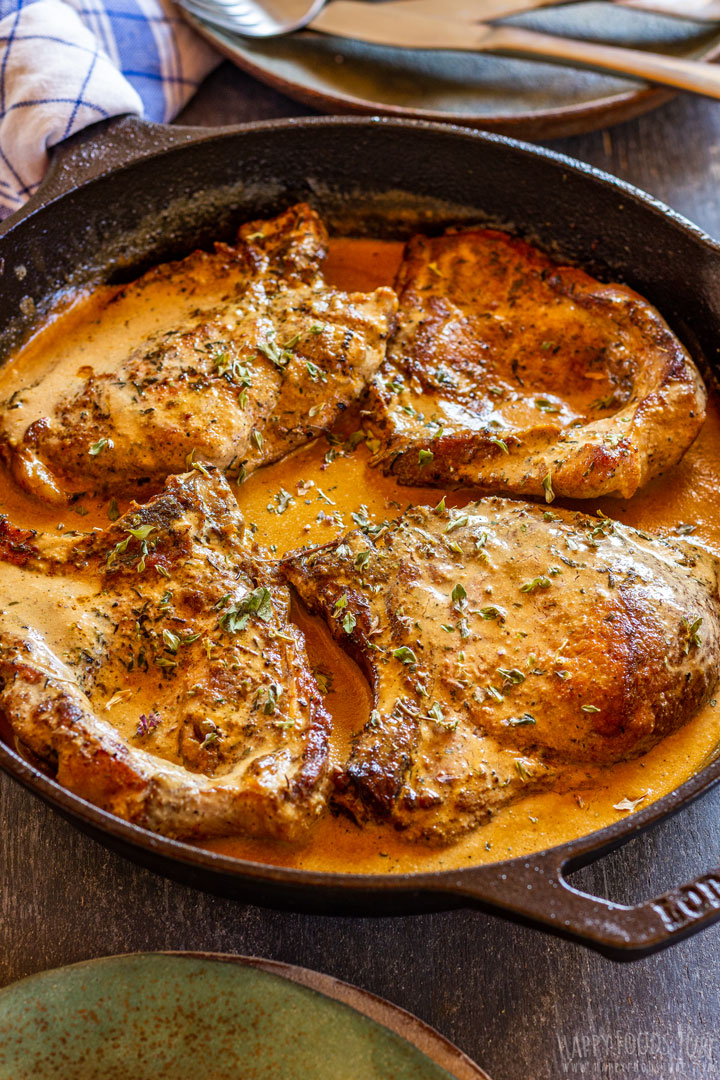 Cast iron pork chops with sauce