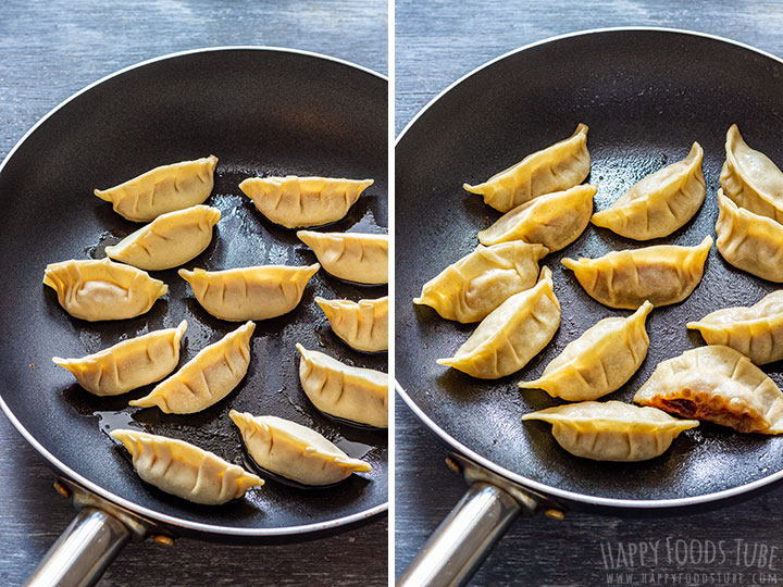 Gyoza before and after cooking