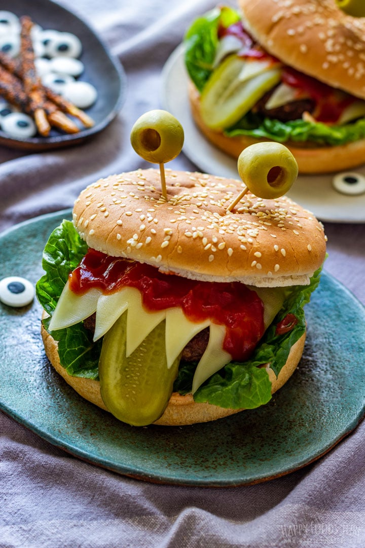 Monster burgers with tongue out