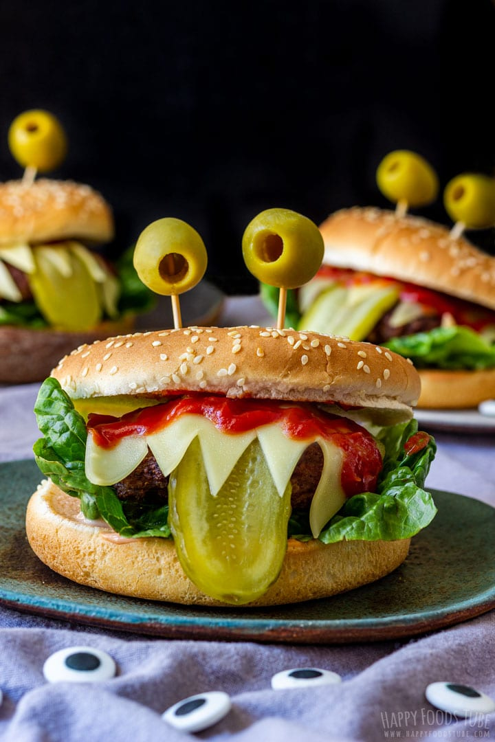 Halloween monster beef burgers