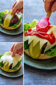 How to assemble Halloween monster burgers step 2