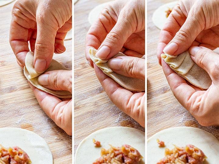 How to make gyoza step 3 (how to fold gyoza)