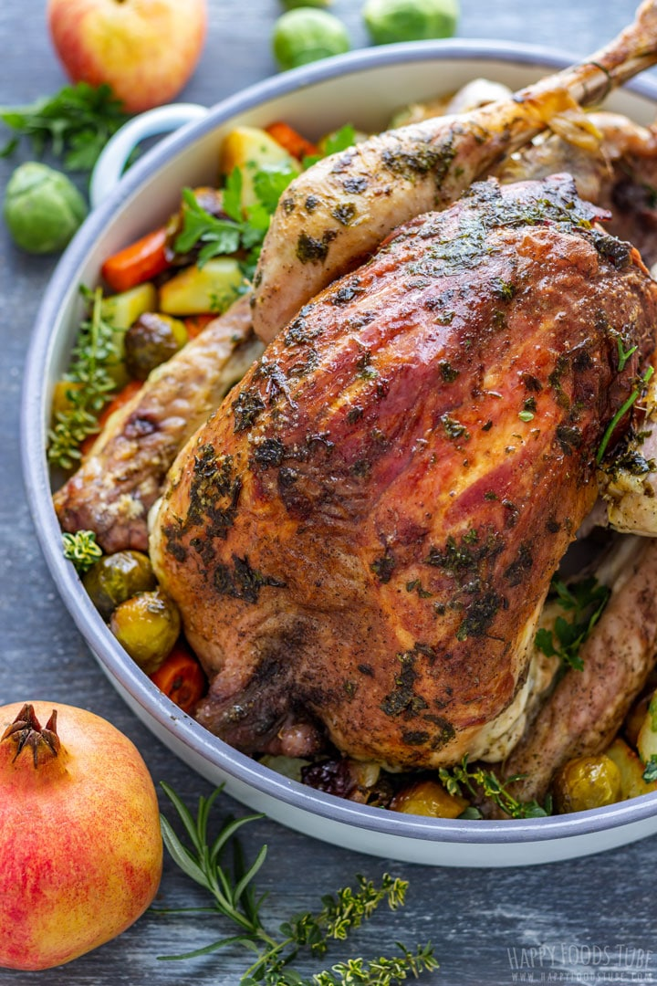 Thanksgiving stuffed turkey with vegetables