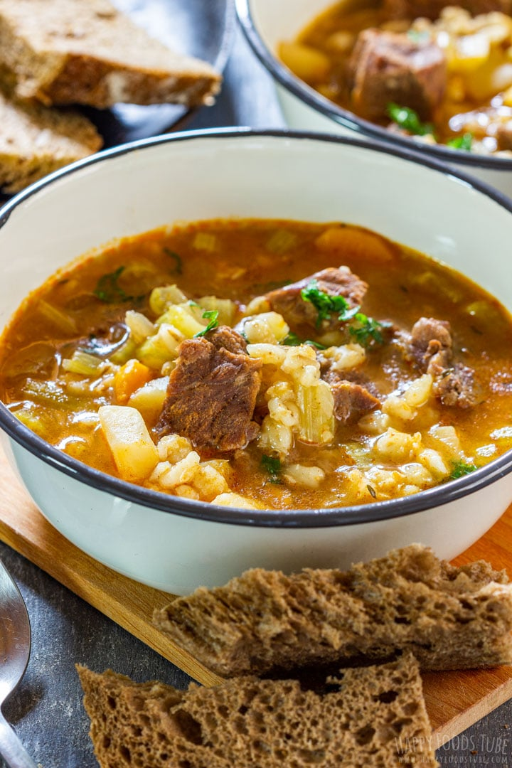 Comforting bowl of instant pot beef barley soup