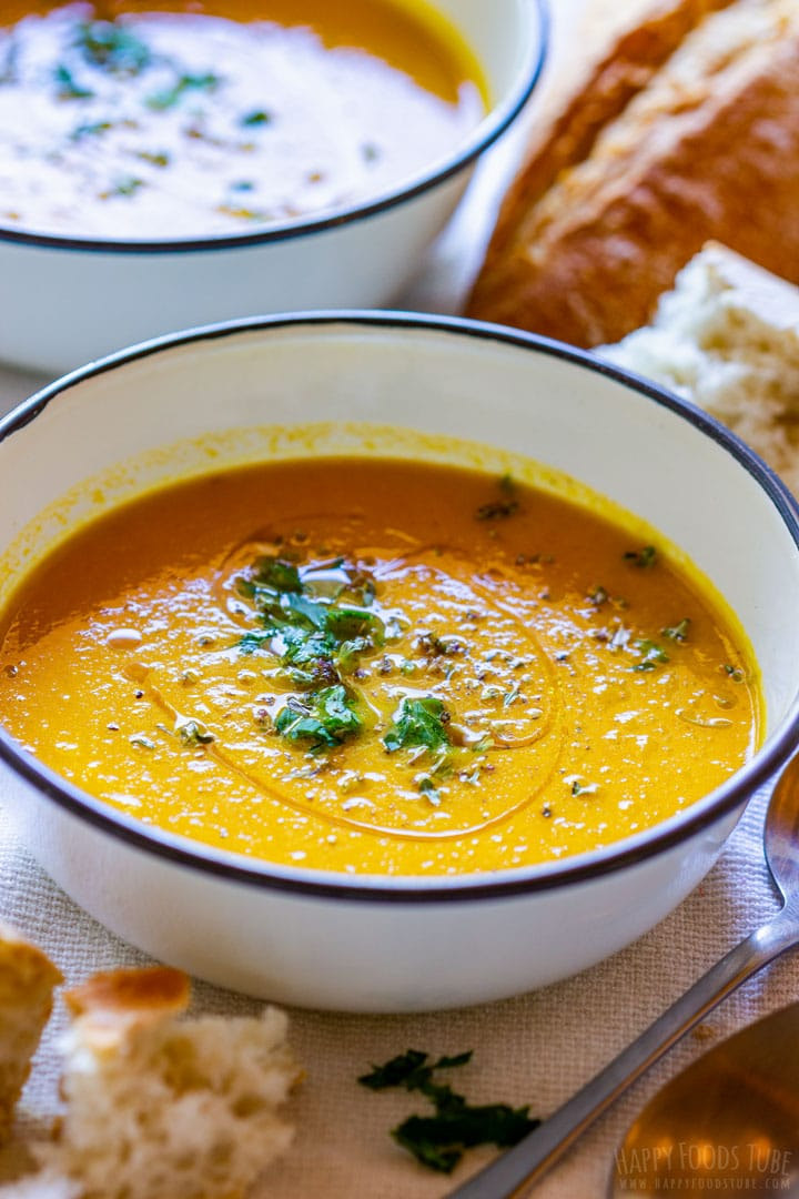 Bowl of honey roasted carrot soup