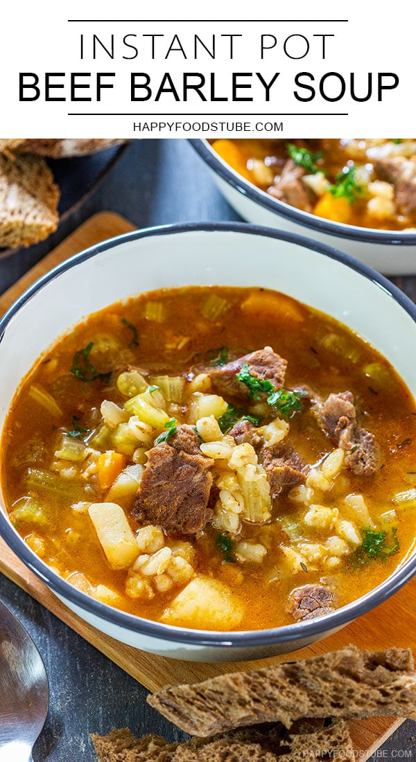 Instant pot pressure cooker beef barley soup pin
