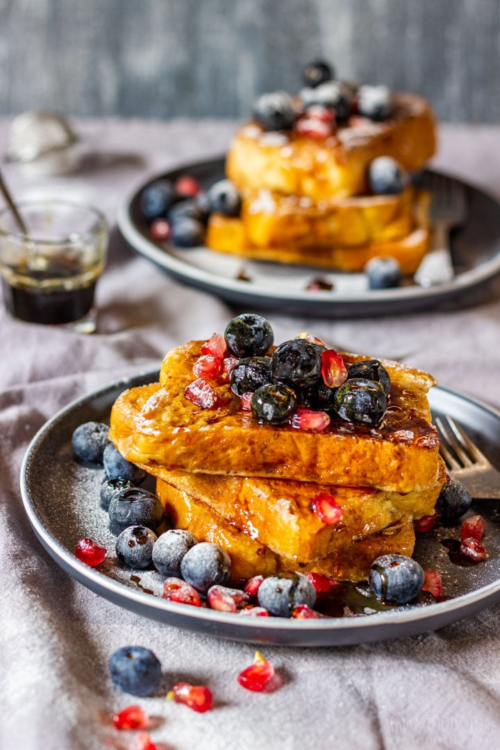 Brioche French toast with blueberries and pomegranate