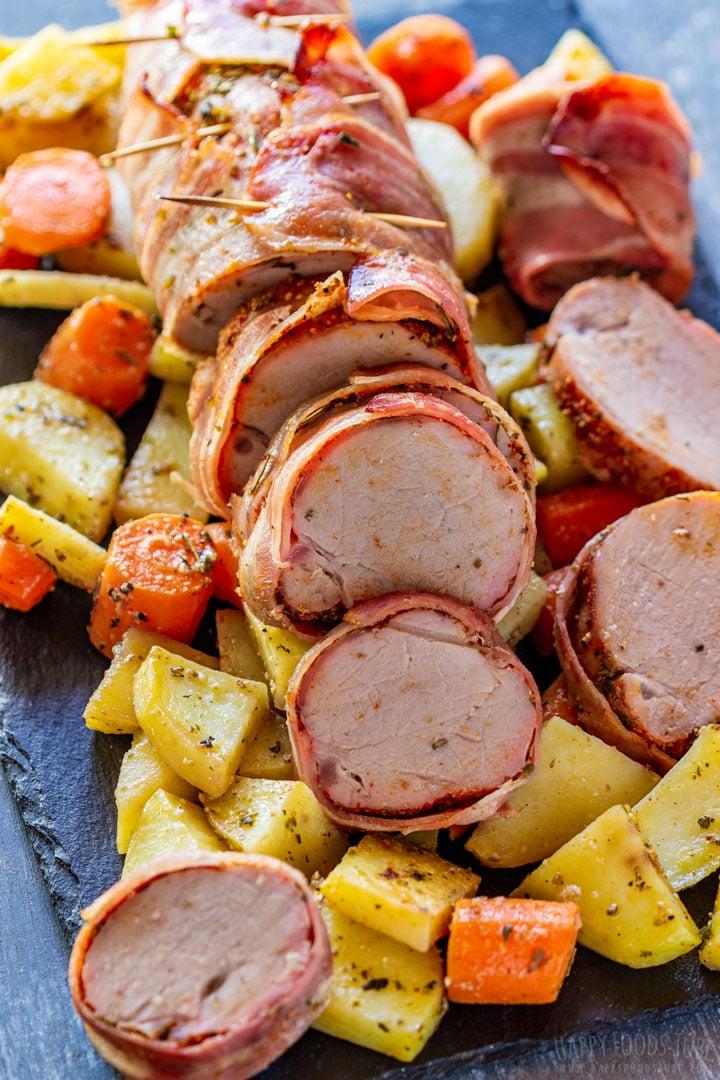 Juicy bacon wrapped pork tenderloin