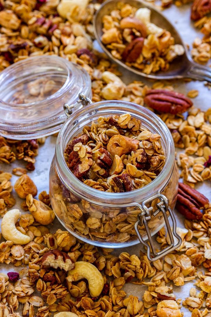 Healthy granola in the jar