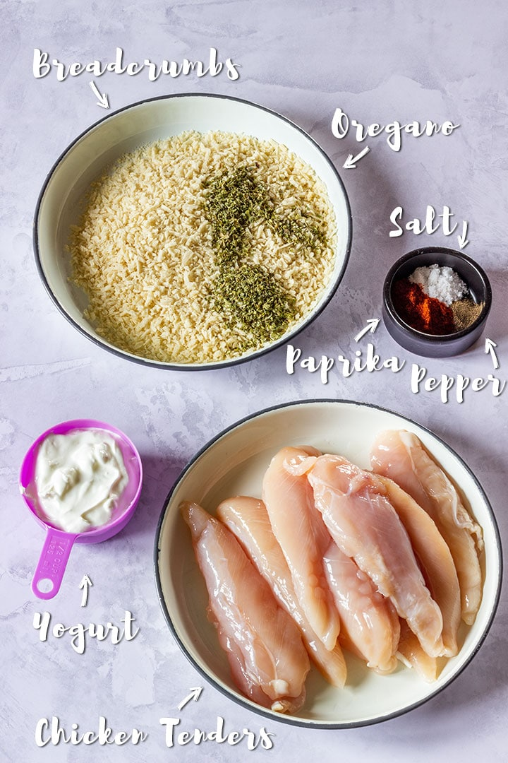 Ingredients you need for making chicken tenders with breadcrumbs