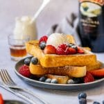 Sweet breakfast plate French toast with Irish cream