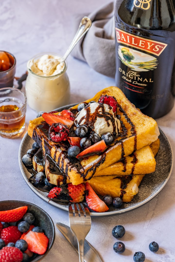 Irish cream French toast drizzled with chocolate sauce
