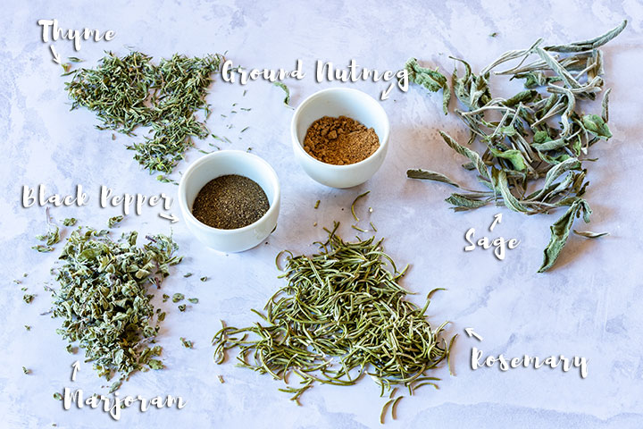 Poultry seasoning ingredients - dried thyme, dried sage, dried rosemary, dried marjoram, black pepper and ground nutmeg