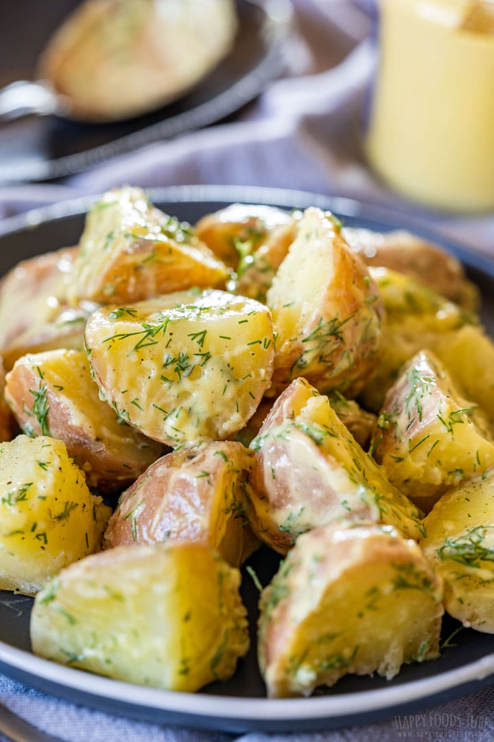 Creamy red skin potato salad on the plate
