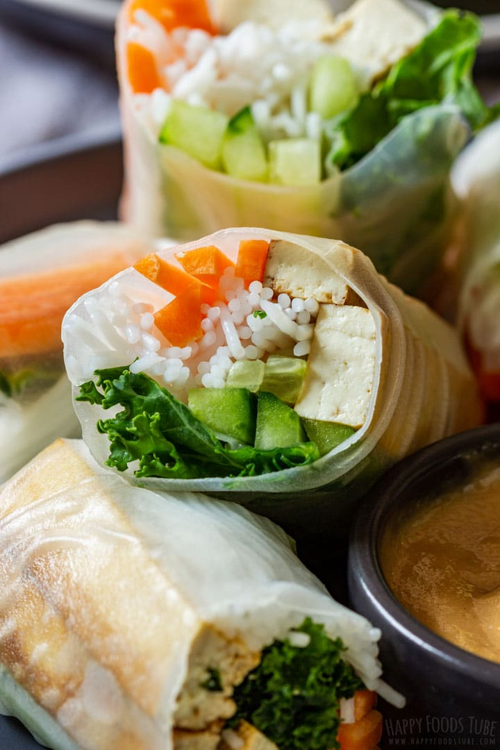Close-up image of tofu spring roll