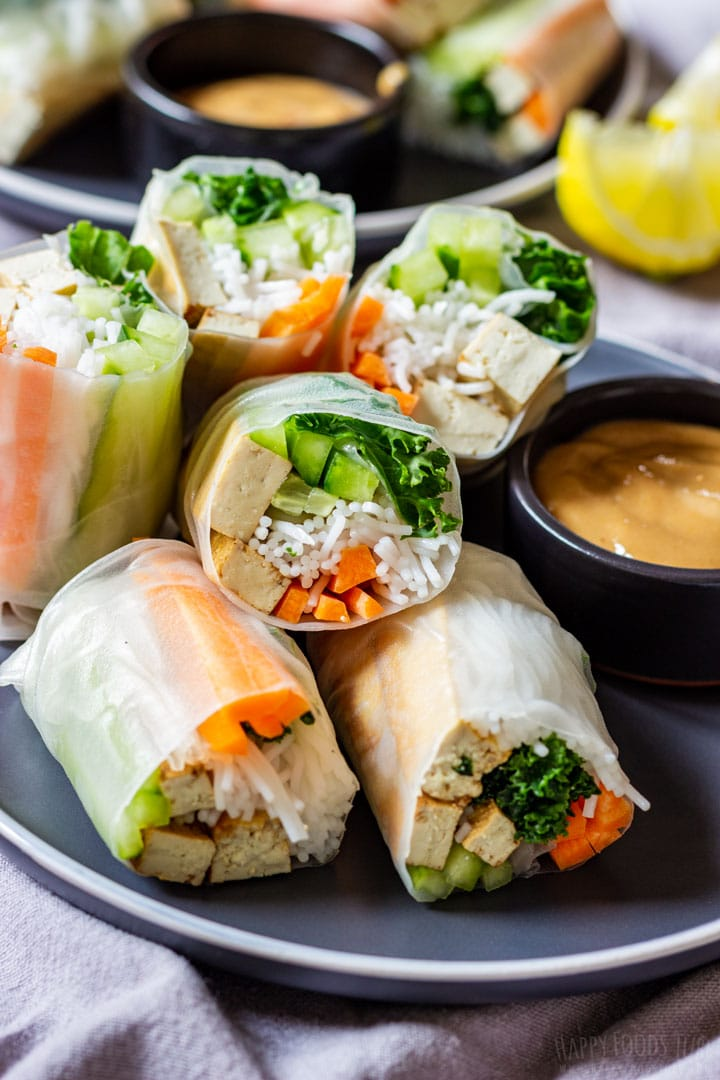 Fresh spring rolls with tofu on the plate
