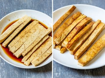 Tofu before and after frying