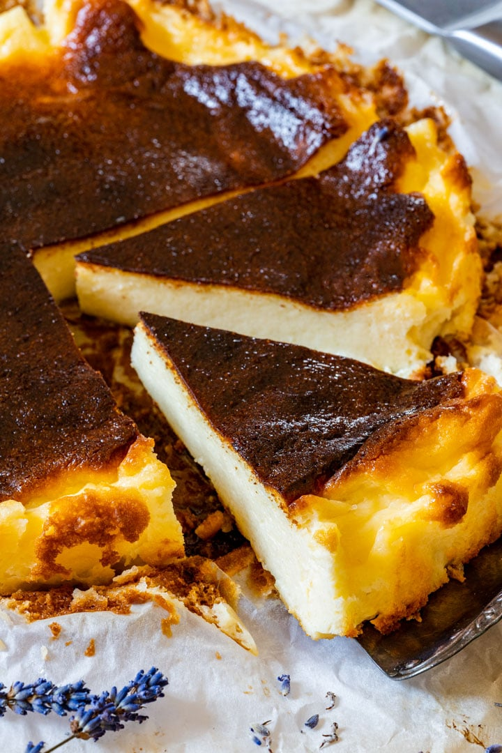 Sliced traditional burnt Basque cheesecake