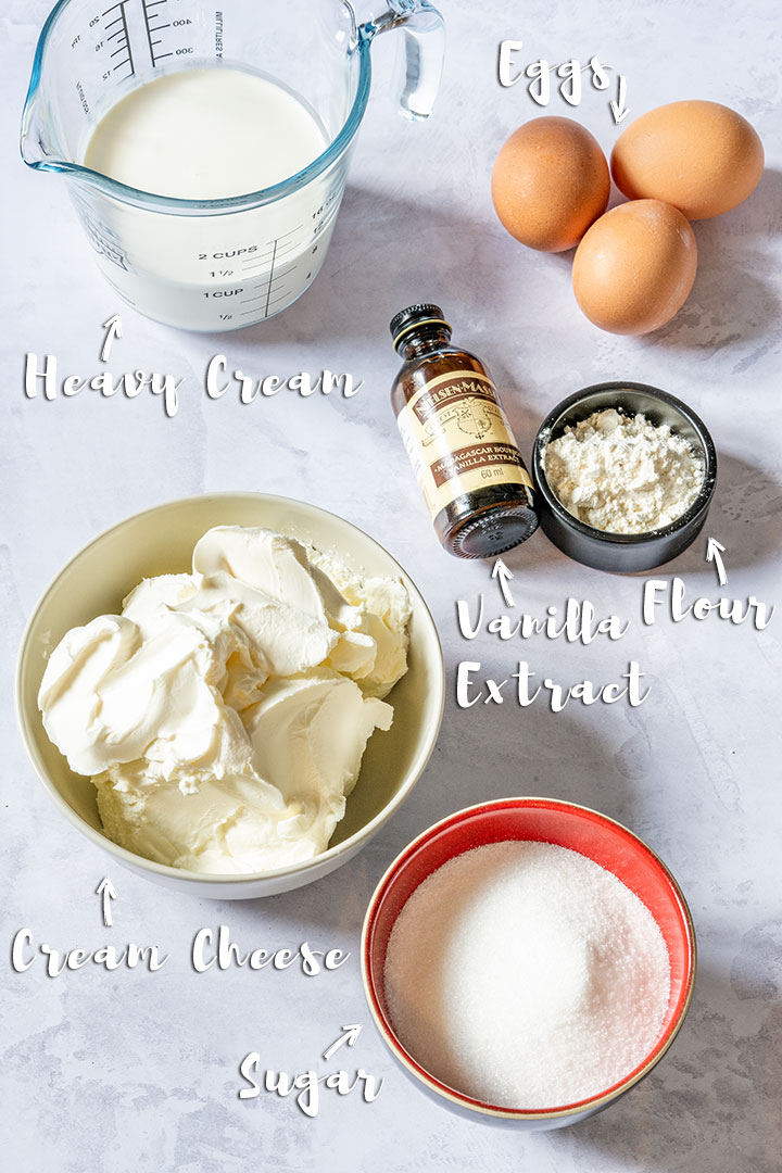 Cheesecake ingredients - cream cheese, sugar, flour, eggs, vanilla extract and cream
