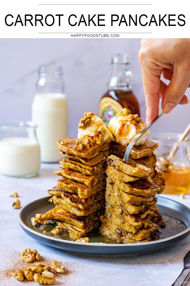 Carrot cake pancakes with cream cheese pancake topping