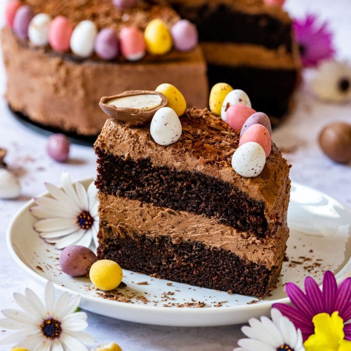 Slice of Easter chocolate cake on the plate
