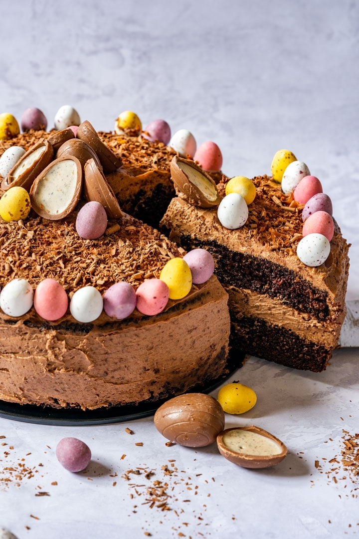 Beautifully decorated chocolate Easter cake with chocolate frosting