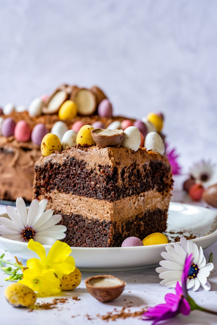 Close-up of Easter chocolate cake slice