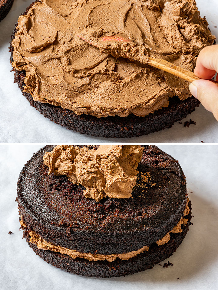 Showing how to frost a cake with chocolate frosting
