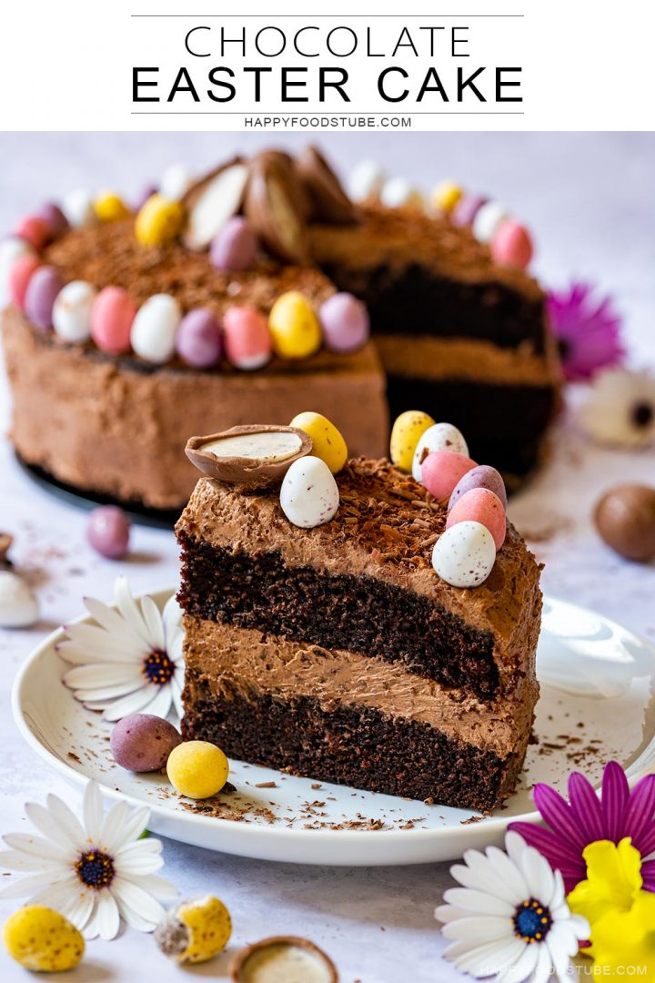 Chocolate cake for Easter with colorful chocolate eggs