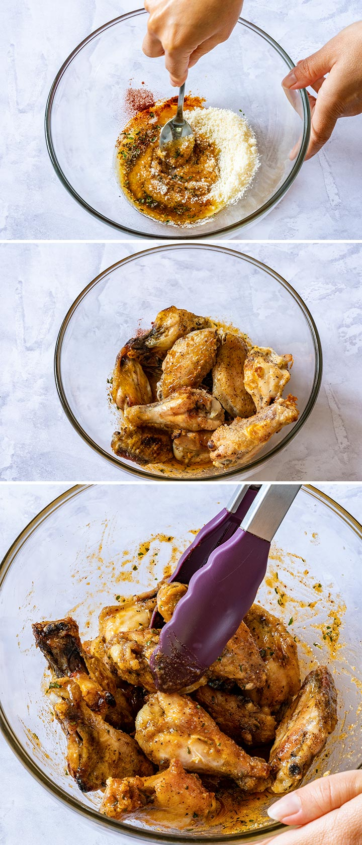 Steps how to make chicken wings with garlic and parmesan cheese