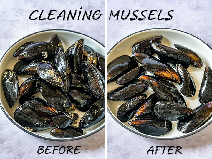 Mussels before and after cleaning