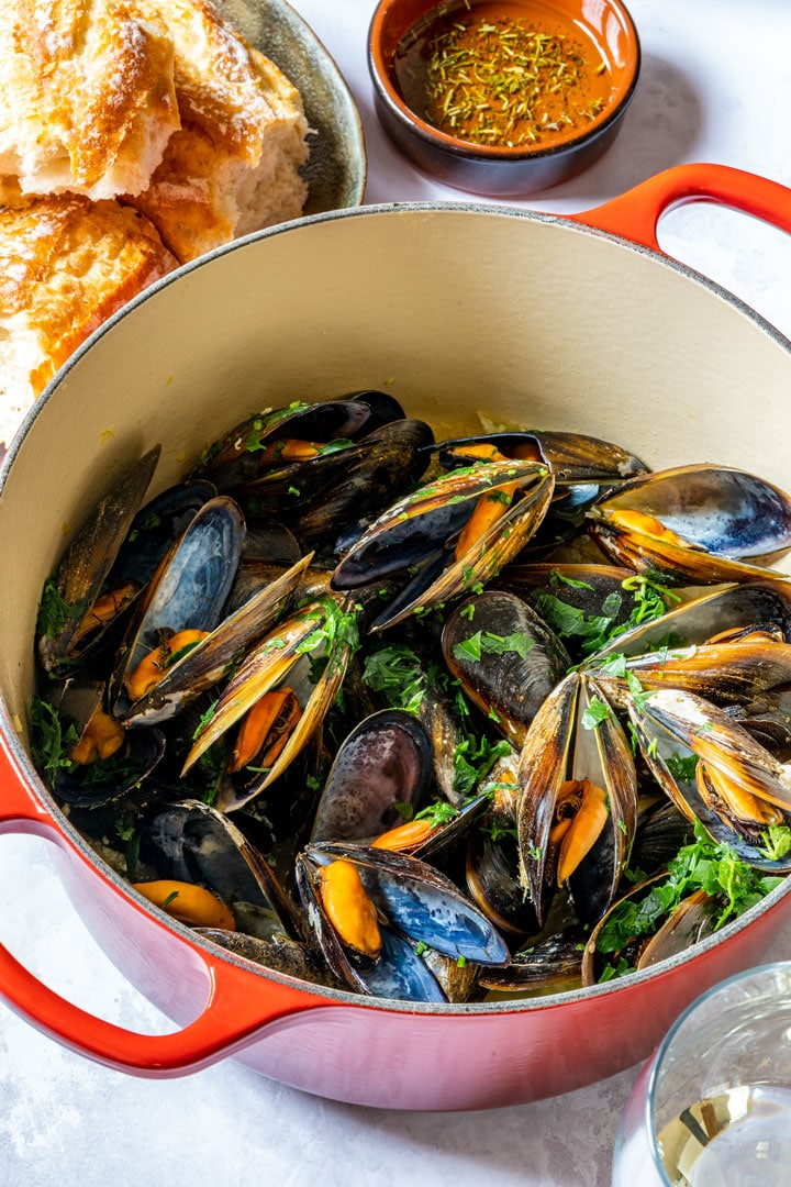 Mussels in white wine cooked on stove-top