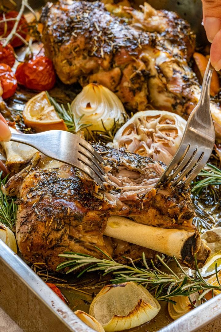 Juicy fork tender meat of lamb