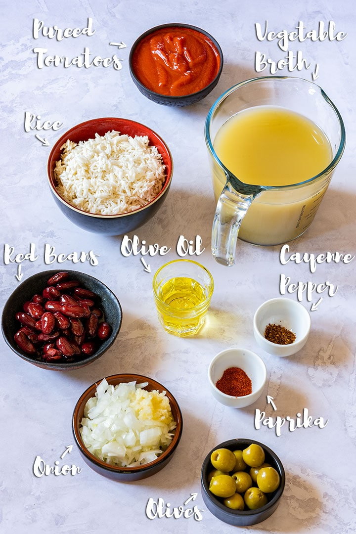 Ingredients you need to make rice and beans