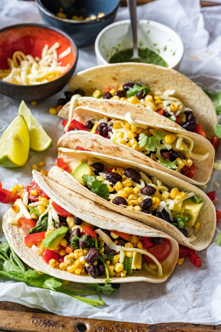 Selection of black bean tacos with cilantro lime sauce
