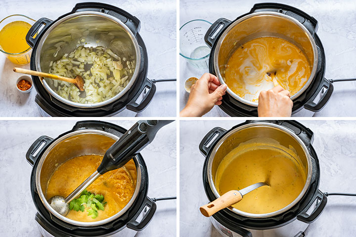 Picture collage showing step by step how to cook split pea soup in instant pot